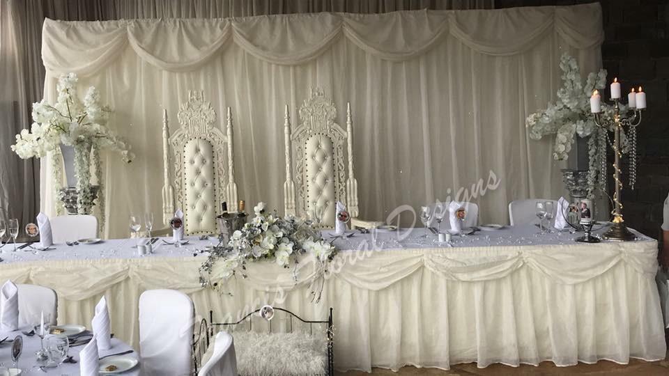 Wedding decorations francis floral design francis floral designs weddings venue flowers top table white decoration junglespirit Choice Image